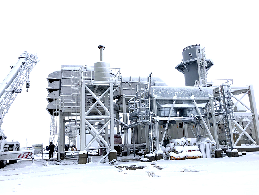 Compressor station Gas turbine Solar Mars 90 Bulgartrangaz Combustion air intake silencer Self-cleaning air intake filter casing Bleed heating anti-icing Lozenets Ithiman Petrich Strandja Nova Provadia Rasovo Snow Russia Artic Frost Cold climate Frozen Anti-icing Bleed-heating