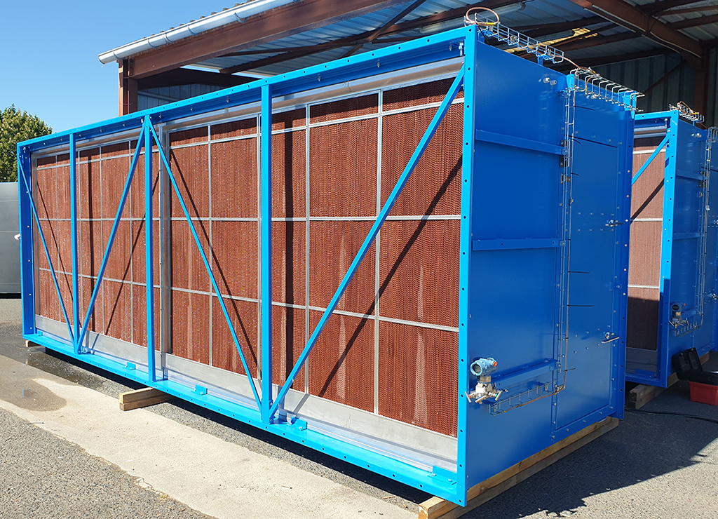 HFO powerplant  Diesel engine  MAN 8V51/60TS Kossodo Burkina Faso Sonabel Engine hall ventilation  Evaporative cooling  cooling solution